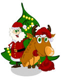 Cheerful Santa Claus and reindeer Stock Images