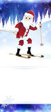 Cheerful Santa Claus on skis Royalty Free Stock Images