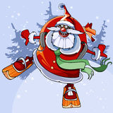 Cheerful Santa Claus on skis flies. Cartoon cheerful Santa Claus rolls from the mountain on skis Stock Photo
