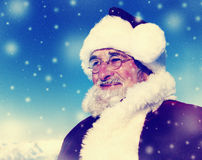 Cheerful Santa Claus Snowing Winter Concepts Royalty Free Stock Photos