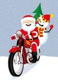 Cheerful Santa Claus and snowman. Cheerful Santa Claus and snowman on a red retro motorcycle royalty free illustration