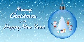 Cheerful santa claus, snowman, reindeer are christmas companion in christmas ball. christmas snow scene. Royalty Free Stock Photos