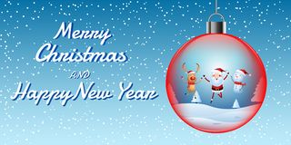 Cheerful santa claus, snowman, reindeer are christmas companion in christmas ball. christmas snow scene. Stock Images