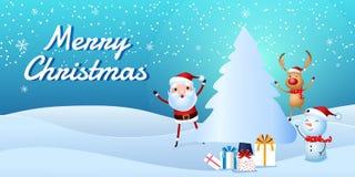 Cheerful santa claus, snowman, reindeer are christmas companion. Christmas presents in snow scene. Royalty Free Stock Photos