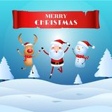 Cheerful santa claus, snowman, reindeer are christmas companion. christmas snow scene. Merry christmas and happy new year Royalty Free Stock Photography