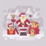 Cheerful Santa Claus with three puppies and a bag of presents standing in a white winter forest. Christmas greeting card royalty free illustration