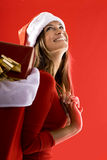 Cheerful Santa Girl Royalty Free Stock Images