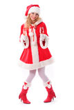 Cheerful santa girl Stock Photos