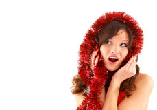 Cheerful santa helper girl Royalty Free Stock Photo
