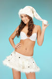Cheerful santa helper girl in lingerie Royalty Free Stock Photography