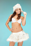 cheerful santa helper girl in lingerie Royalty Free Stock Photos