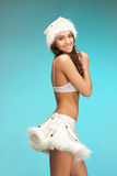 cheerful santa helper girl in lingerie Stock Image