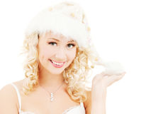 Cheerful santa helper girl Royalty Free Stock Images