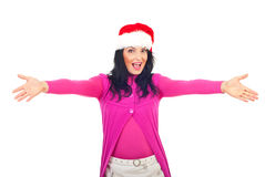 Cheerful Santa helper welcoming Stock Photo