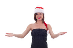 Cheerful Santa helper welcoming Stock Photography