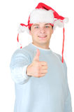 Cheerful santa man with thumbs up Royalty Free Stock Photography