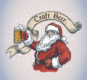 Cheerful Santa with a mug beer stock illustration