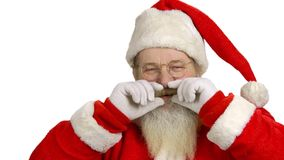 Cheerful Santa on white background. stock video footage