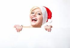 Cheerful santa woman Stock Image