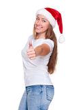 Cheerful santa woman Stock Photos