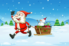 A cheerful Santa with a wooden sleigh Royalty Free Stock Image