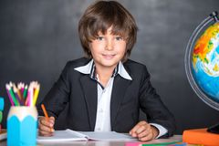 Cheerful school boy writing in notebook Royalty Free Stock Photos