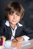 Cheerful school boy writing in notebook Royalty Free Stock Images