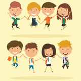 Cheerful school boys and girls make a jump. royalty free illustration