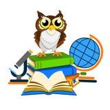Cheerful school owl stock image
