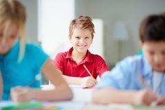 Cheerful schoolboy Stock Images