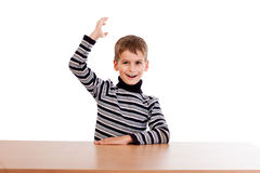 Cheerful Schoolboy ready to answer question Stock Photo