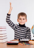 Cheerful Schoolboy ready to answer question Stock Image
