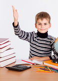Cheerful Schoolboy ready to answer question Royalty Free Stock Image