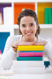 Cheerful schoolgirl with books Royalty Free Stock Images