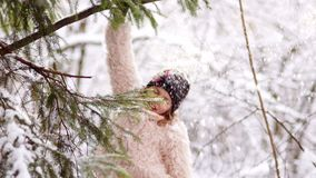 A cheerful schoolgirl brushes snow from the trees. Snow-covered park, snowfall, Christmas holidays.  stock video