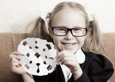 Cheerful schoolgirl in glasses Royalty Free Stock Photos