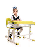 Cheerful schoolgirl studying Royalty Free Stock Photos