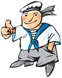 Cheerful seaman. With expressive gesture. Vector illustration stock illustration
