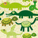 Cheerful seamless pattern with crocodile, turtle, dragon, iguana, snake. Green background. Royalty Free Stock Photos