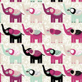 Cheerful seamless pattern elephants and flowers. Purple black Royalty Free Stock Photography