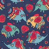 Cheerful seamless pattern with elephants and roses Royalty Free Stock Image