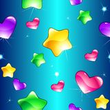 Cheerful seamless pattern with shiny hearts and st