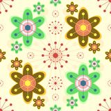 Cheerful seamless print of bright abstract flowers Royalty Free Stock Photography