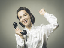 Cheerful secretary on the phone Stock Photos