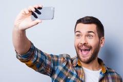 Cheerful selfie. Stock Photos