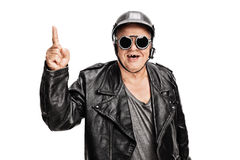 Cheerful senior biker pointing up Royalty Free Stock Photo