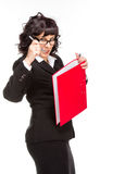 Cheerful senior business woman with folder royalty free stock images