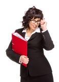 Cheerful senior business woman with folder Stock Photos