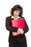 Cheerful senior business woman with folder Royalty Free Stock Photo