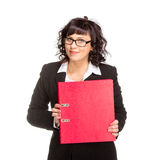 Cheerful senior business woman with folder Stock Images